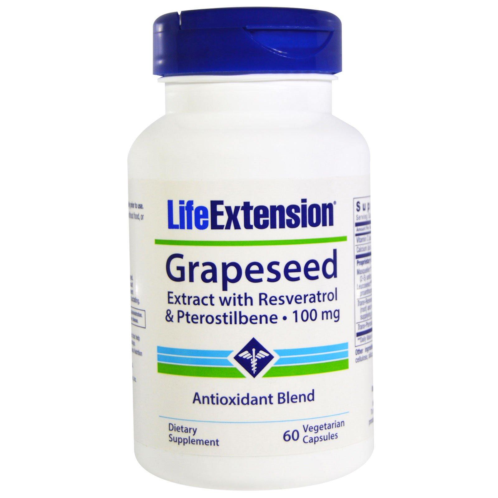 Life Extension, Экстракт виноградных косточек, с ресвератролом и птеростильбеном, 100 мг, 60 вегетарианских капсул