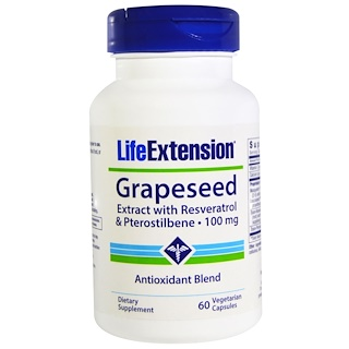 Life Extension, Grapeseed Extract, with Resveratrol & Pterostilbene, 100 mg, 60 Veggie Caps