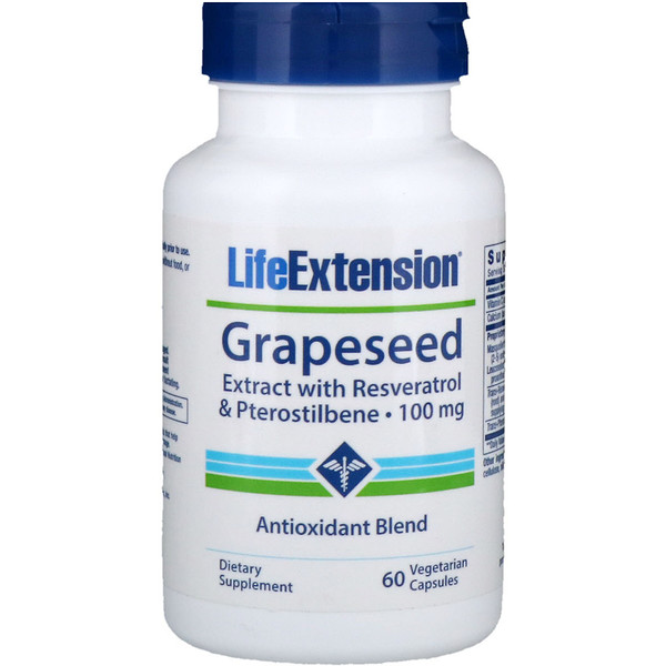 Life Extension, Grapeseed Extract, with Resveratrol & Pterostilbene, 100 mg, 60 Vegetarian Capsules (Discontinued Item)
