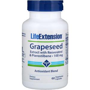 Лайф Экстэншн, Grapeseed Extract, with Resveratrol & Pterostilbene, 100 mg, 60 Vegetarian Capsules отзывы