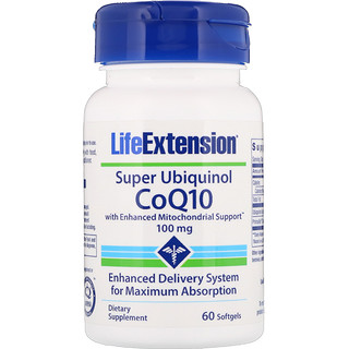 Life Extension, Super Ubiquinol CoQ10 with Enhanced Mitochondrial Support, 100 мг, 60 мягких таблеток
