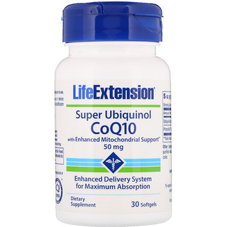 Life Extension, Super Ubiquinol CoQ10 with Enhanced Mitochondrial Support, 50 мг, 30 капсул