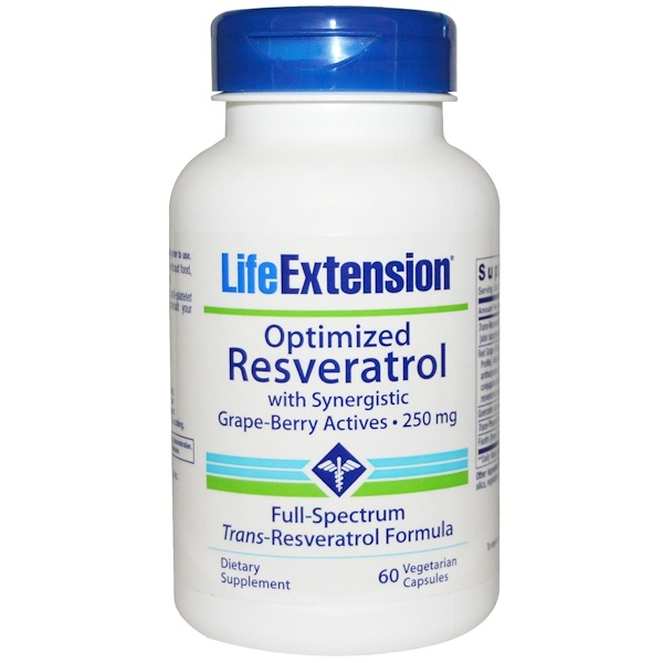 Life Extension, Optimized Resveratrol, with Synergistic Grape-Berry Actives, 250 mg, 60 Veggie Caps (Discontinued Item)
