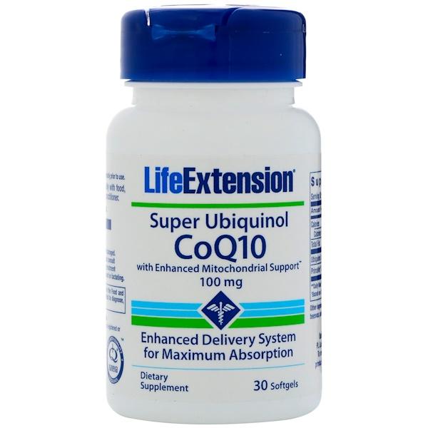 Life Extension, 具有增強型線粒體支持功能的超級泛醇輔酶Q10,100毫克,30粒軟膠囊