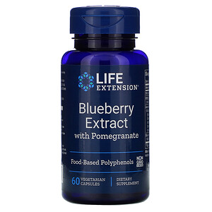 Лайф Экстэншн, Blueberry Extract with Pomegranate, 60 Vegetarian Capsules отзывы покупателей