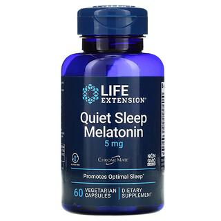 Life Extension, Quiet Sleep(クイックスリープ)、メラトニン、5mg、植物性カプセル60粒