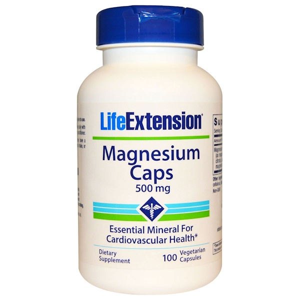 保健品礦物質鎂:Life Extension, 鎂膠囊,500毫克,100 個素食膠囊