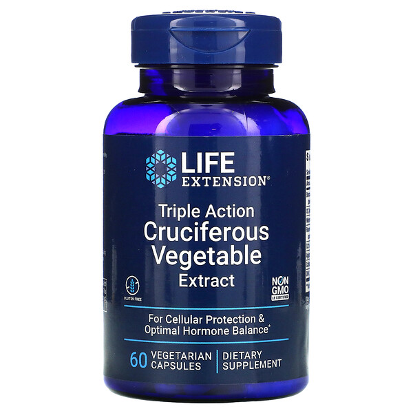 Life Extension, Triple Action Cruciferous Vegetable Extract, 60 Vegetarian Capsules