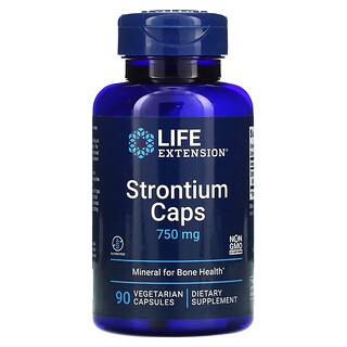 Life Extension, Estroncio en cápsulas, mineral para huesos sanos, 750 mg, 90 cápsulas vegetarianas