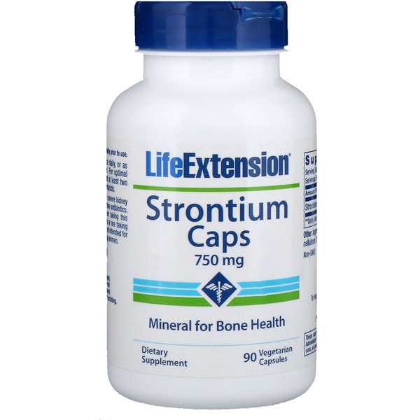 Life Extension, Strontium Caps, Mineral for Bone Health, 750 mg, 90 Veggie Caps