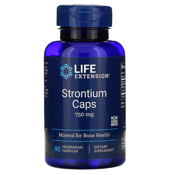 Strontium Caps, Mineral for Bone Health, 750 mg, 90 Vegetarian Capsules