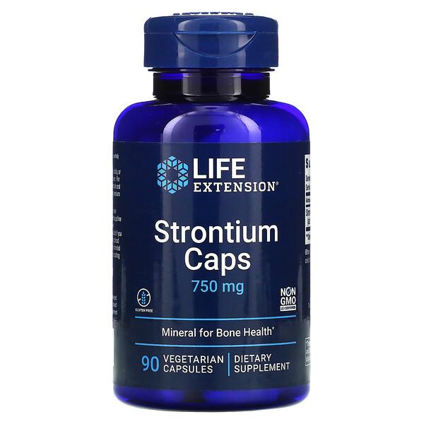 ストロンチウムキャップ, 骨の健康のためのミネラル, 750 mg, 90 ベジカプセル
