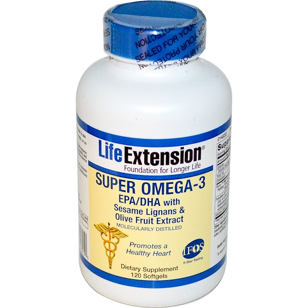 Life Extension, Super Omega-3, EPA/DHA with Sesame Lignans & Olive Fruit Extract, 120 Softgels (Discontinued Item)