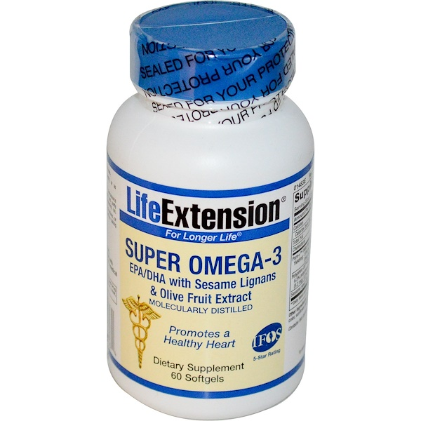 Life Extension, Super Omega-3, EPA/DHA with Sesame Lignans & Olive Fruit Extract, 60 Softgels (Discontinued Item)