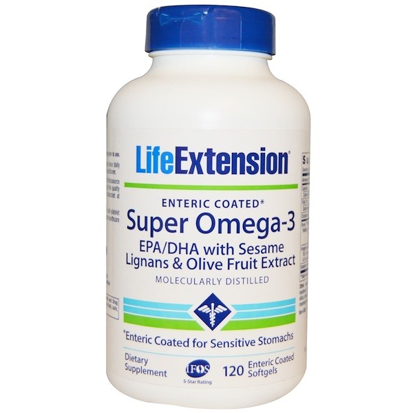 Life Extension, Super Omega-3, EPA/DHA with Sesame Lignans & Olive Fruit Extract, 120 Enteric Coated Softgels (Discontinued Item)