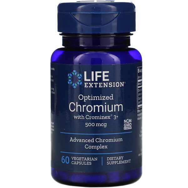 Life Extension, Optimized Chromium with Crominex 3+, 500 mcg, 60 Vegetarian Capsules