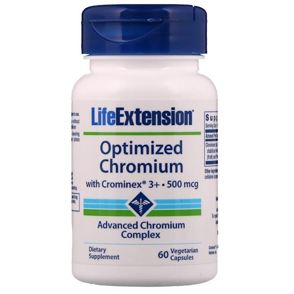 Life Extension, 優化鉻含Crominex 3+,500毫克,60粒素食膠囊