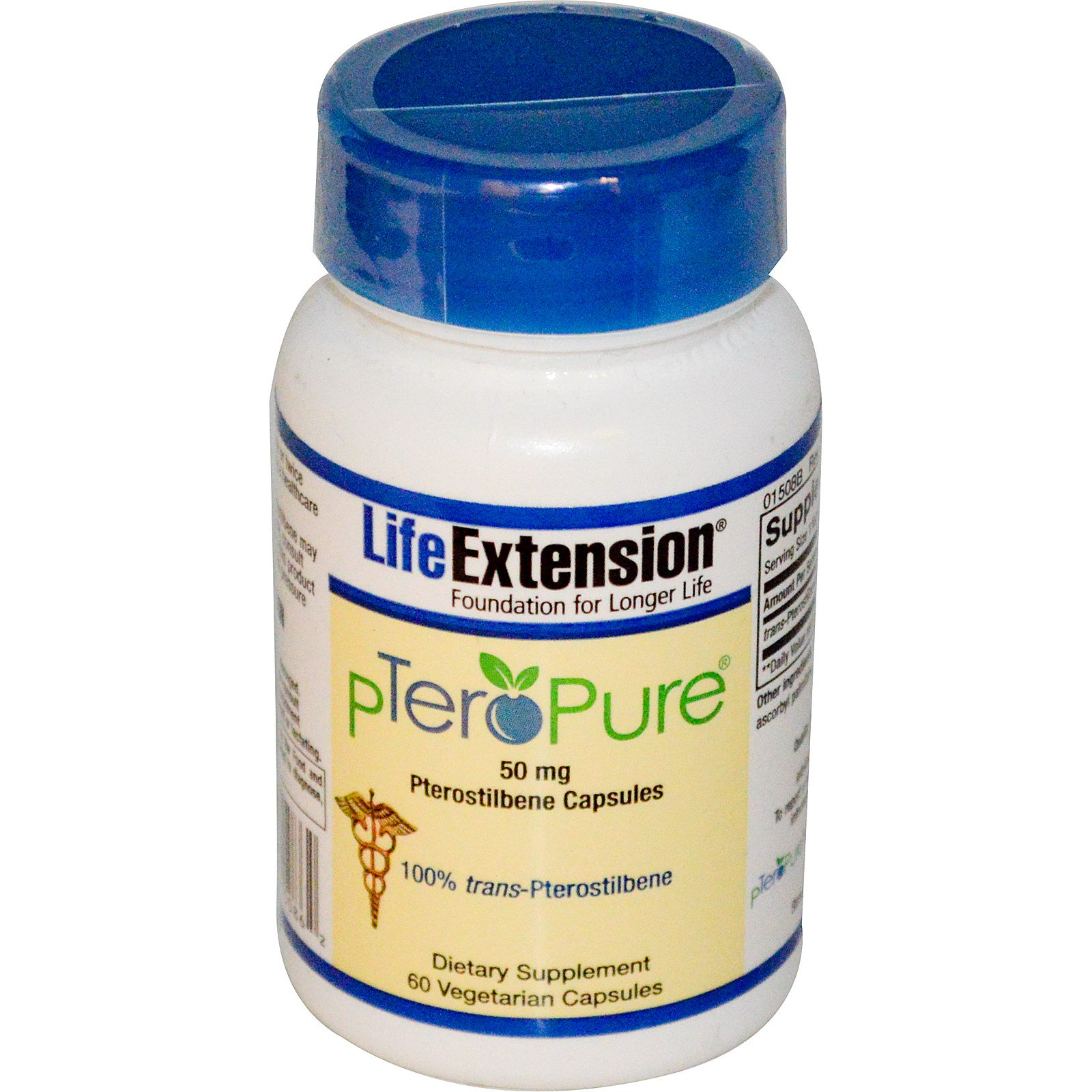 Life Extension, pTeroPure, птеростильбен, 50 мг, 60 капсул