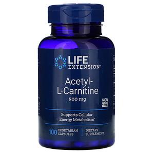 Лайф Экстэншн, Acetyl-L-Carnitine, 500 mg, 100 Vegetarian Capsules отзывы покупателей