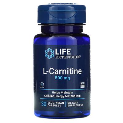 Life Extension L-карнитин, 500мг, 30вегетарианских капсул