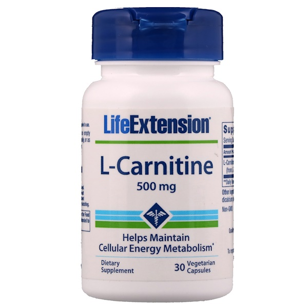 Life Extension, L-Carnitine, 500 mg, 30 Vegetarian Capsules