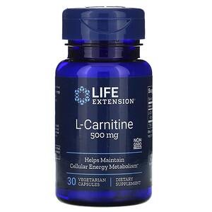 Лайф Экстэншн, L-Carnitine, 500 mg, 30 Vegetarian Capsules отзывы
