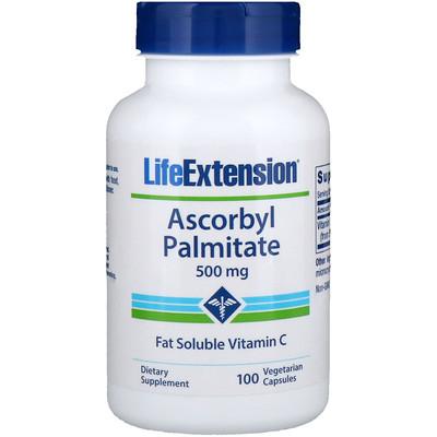 Купить Life Extension Аскорбил пальмитат, 500мг, 100растительных капсул
