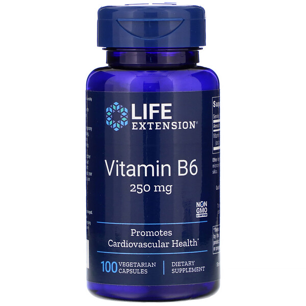 Vitamina B6, 250 mg, 100 Cápsulas Vegetais