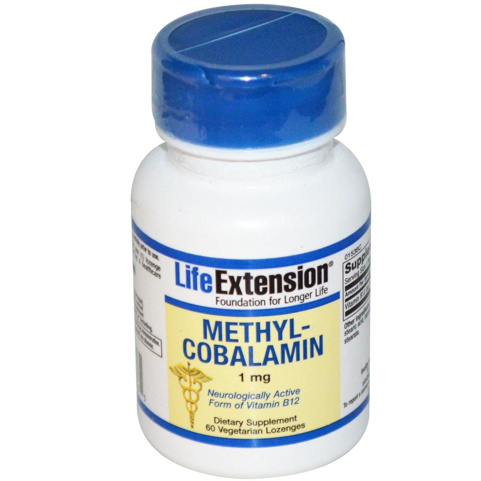 Life Extension, Метилкобаламин, 1 мг, 60 растительных леденцов