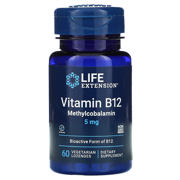 Vitamin B12 Methylcobalamin, 5 mg, 60 Vegetarian Lozenges