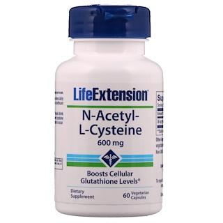 Life Extension, N-アセチル-L-システイン、600mg、ベジタリアンカプセル60錠