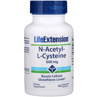 Life Extension, N-Acetil-L-Cisteína, 600 mg, 60 cápsulas vegetarianas