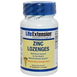Life Extension, Цинковые пастилки с натуральным цитрусовым апельсиновым вкусом, 60 пастилок
