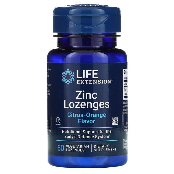 Zinc Lozenges, Citrus-Orange, 60 Vegetarian Lozenges