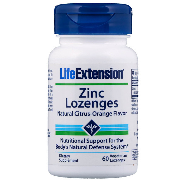 Life Extension, Zinc Lozenges, Natural Citrus-Orange Flavor, 60 Vegetarian Lozenges