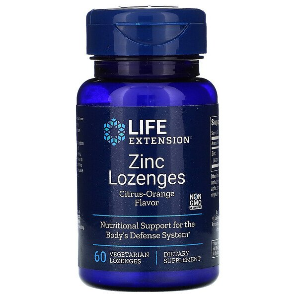 Life Extension, Zinc Lozenges, Citrus-Orange Flavor, 60 Vegetarian Lozenges