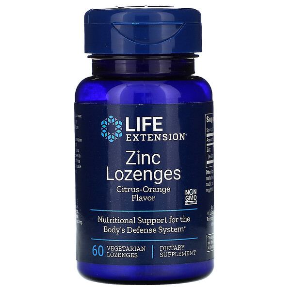 Zinc Lozenges, Citrus-Orange Flavor, 60 Vegetarian Lozenges