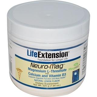 Life Extension, Neuro-Mag, с натуральным лимонным вкусом, 7.94 унций (225 г)
