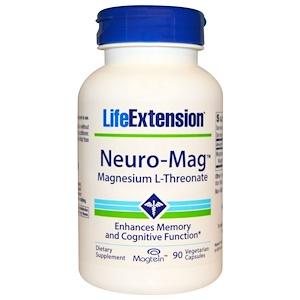 Life Extension, Neuro-Mag, магний L-треонат, 90 вегетарианских капсул инструкция, применение, состав, противопоказания