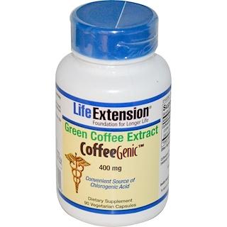 Life Extension, コーヒージニック, グリーンコーヒーエキス, 400 mg, 植物性カプセル90粒