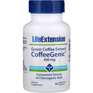 Life Extension, CoffeeGenic, Green Coffee Extract, 400 mg, 90 Vegetarian Capsules