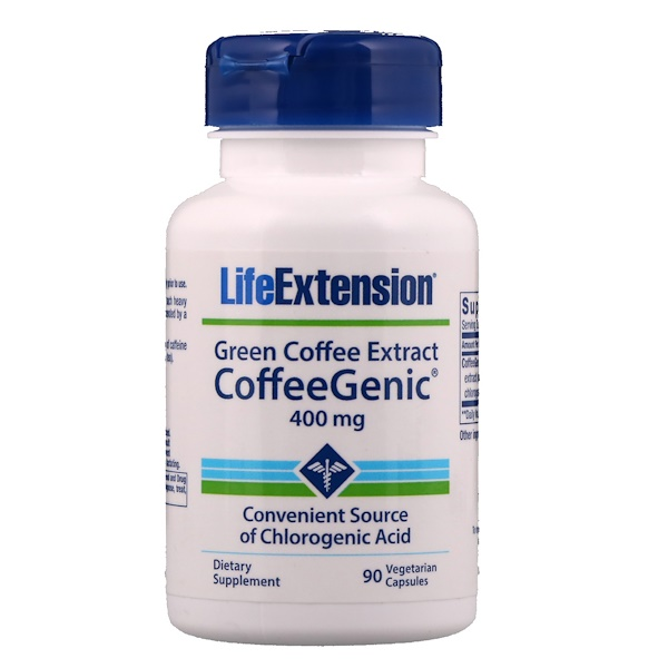 Life Extension, CoffeeGenic, Green Coffee Extract, 400 mg, 90 Veggie Caps