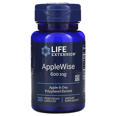 Купить Life Extension AppleWise, добавка из яблока, 600 мг, 30 вегетарианских капсул
