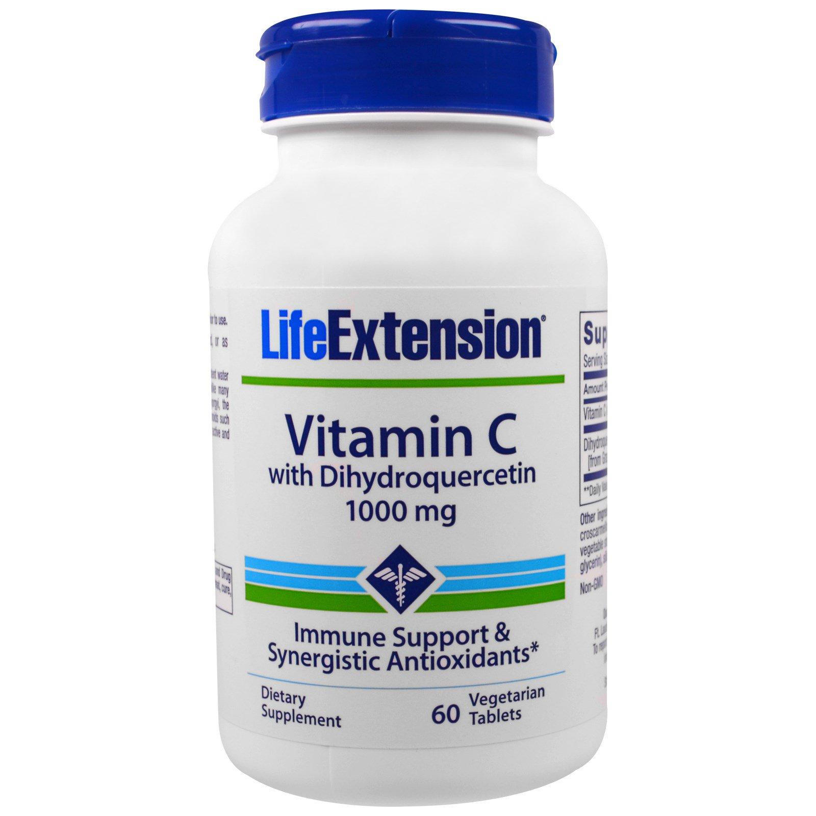 Life Extension, Витамин С с дигидрокверцетином, 1000 мг, 60 таблеток в растительной оболочке