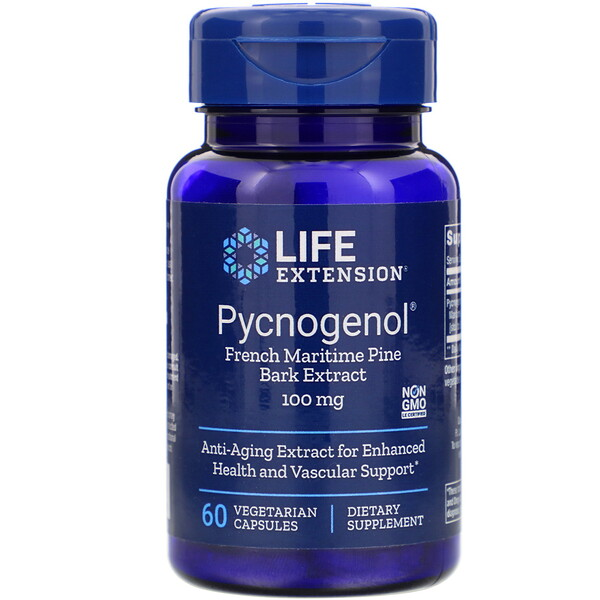 Pycnogenol, French Maritime Pine Bark Extract, 100 mg, 60 Vegetarian Capsules