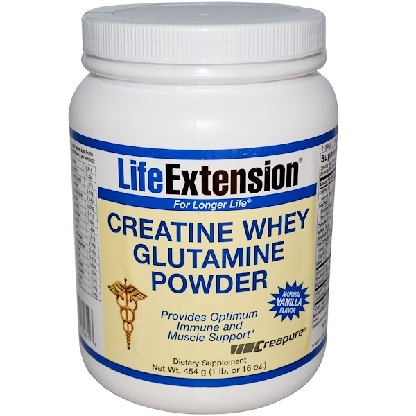 Life Extension, Creatine Whey Glutamine Powder, Natural Vanilla Flavor, 16 oz (454 g) (Discontinued Item)