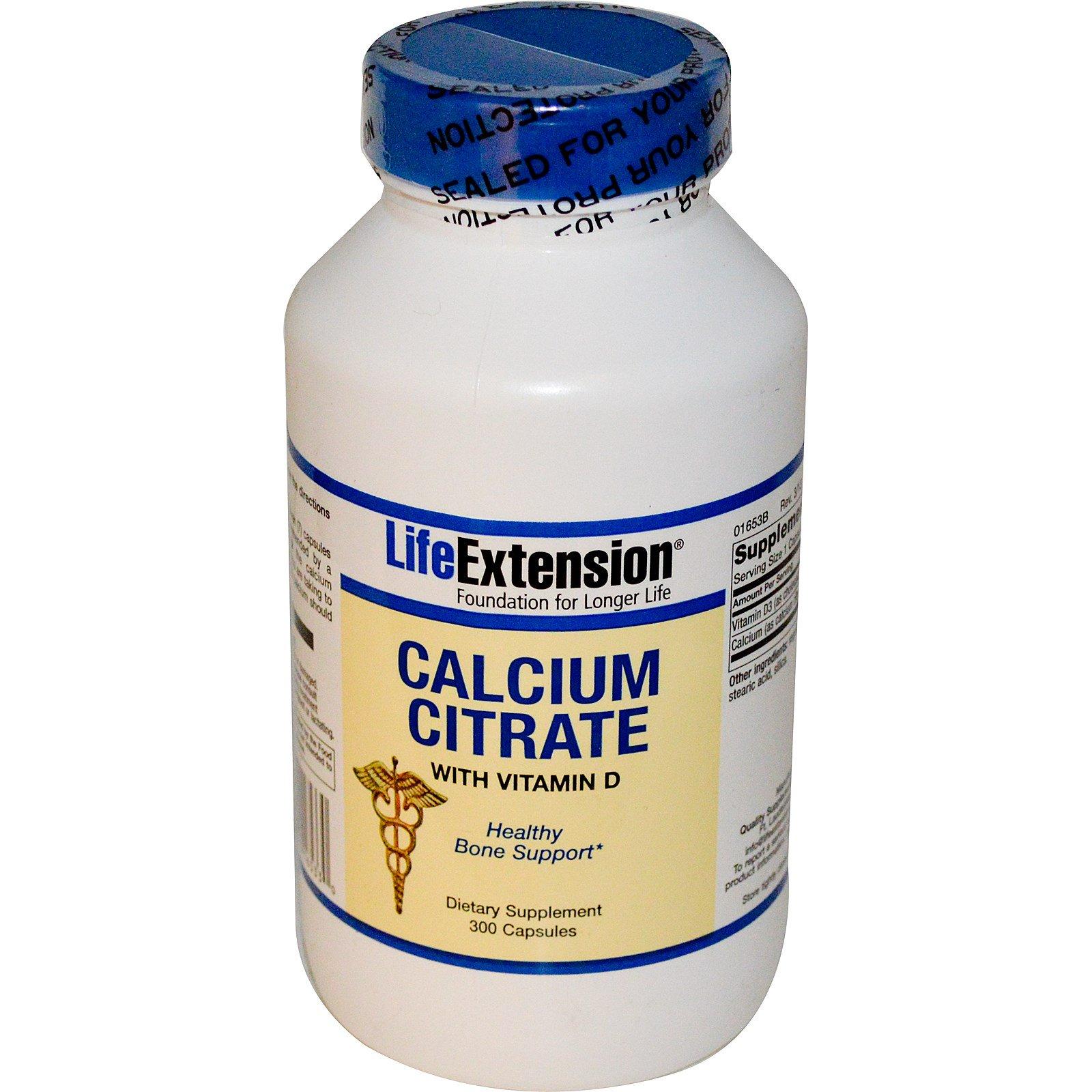 Life Extension, Цитрат кальция, с витамином D, 300 капсул