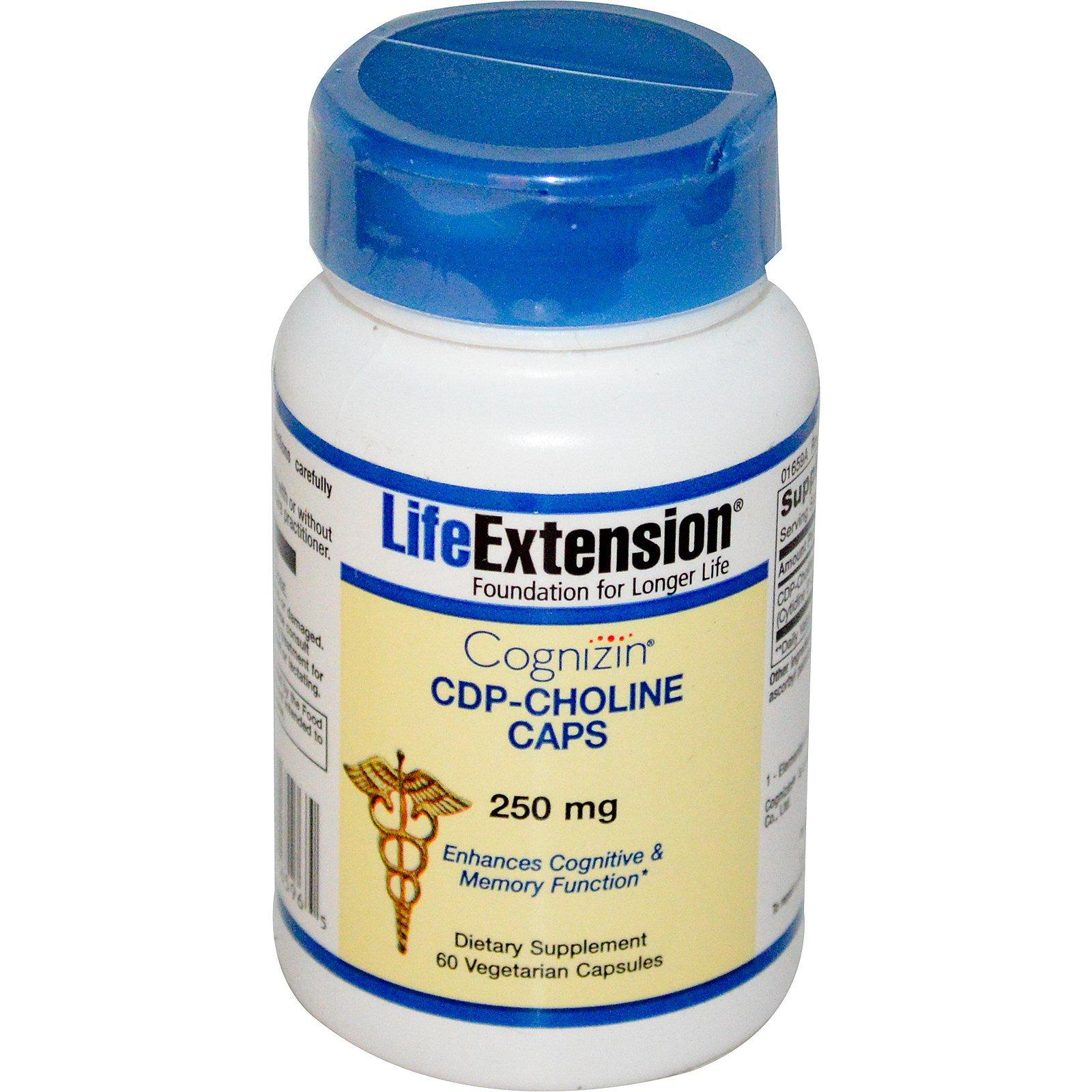 Life Extension, Cognizin, капсулы с CDP-холином, 250 мг, 60 растительных капсул