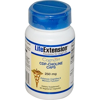 Life Extension, Cognizin, CDP-Choline Caps, 250 mg, 60 Veggie Caps