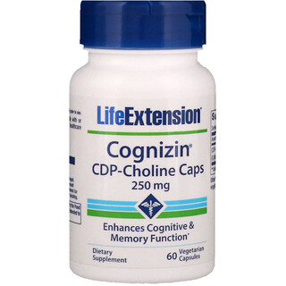 Life Extension, Cognizin, CDP-Choline Caps, 250 mg, 60  capsulas vegetales
